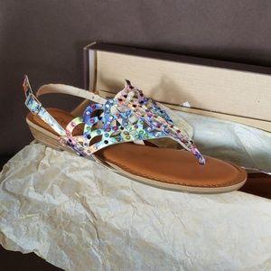 Marie blue printed sandals